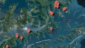 Queen Charlotte Track accommodation map